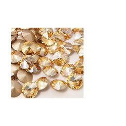 Strasssteine Glas Chatons 8mm crystal golden shade