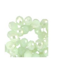 Glasperlen Rondellen facettiert 6x4mm crysolite green-diamond go