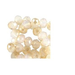 Glasperlen Rondellen facettiert 6x4mm white opal-diamond