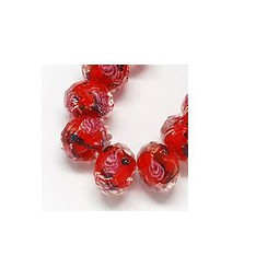 Facettierte Glasperlen Lampwork 10x7mm rot
