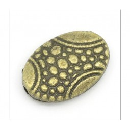 Metallperle oval 14x10mm bronzefarbig