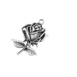Rose 25,5mm antiksilber