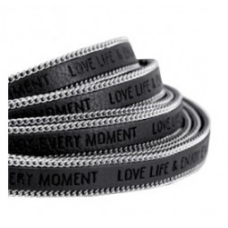 Slogan Kunstlederband 10mm black grey