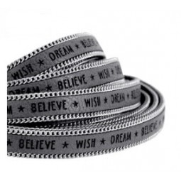 Slogan Kunstlederband 10mm cool grey