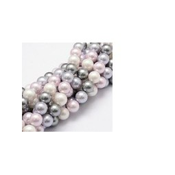 Muschelkernperlen 8mm multicolor lila grau